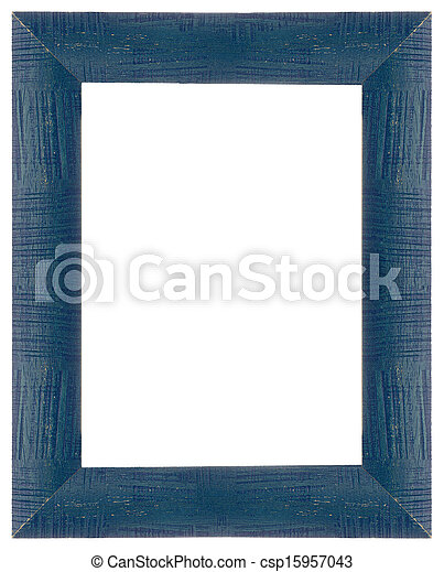 Blue wooden frame for painting or picture on white... stock photo ...