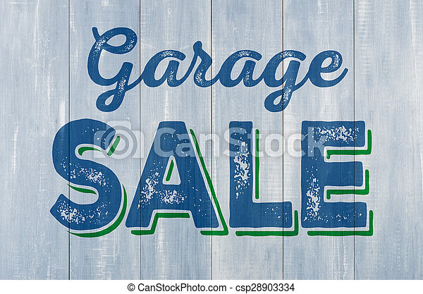 Blue wooden wall with the inscription Garage Sale - csp28903334
