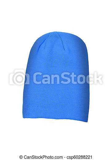 Blue wool hat isolated on white background - csp60288221
