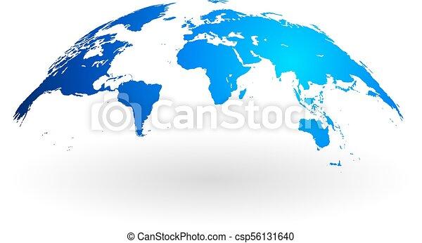 Blue world map globe isolated on white background detailed eps blue world map globe isolated on white background csp56131640 gumiabroncs Gallery