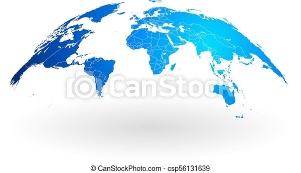 Blue world map globe isolated on white background detailed blue blue world map globe isolated on white background csp56131639 gumiabroncs Image collections