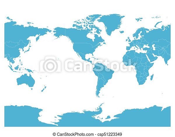 blue world map high detail america centered political map vector illustration