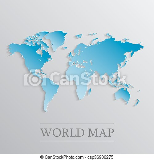 Blue world map blue flat world map with 3d effect vectors blue world map csp36906275 gumiabroncs Images