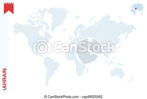 Bahrain On A World Map.Blue World Map With Magnifying On Bahrain World Map With Magnifying