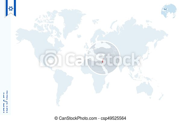 Blue world map with magnifying on Israel.