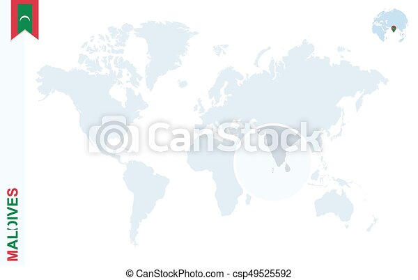 Blue world map with magnifying on maldives World map with eps