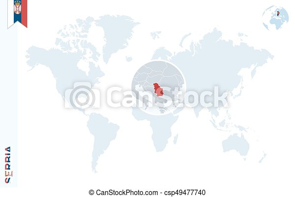 Blue world map with magnifying on serbia World map with eps