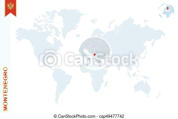 Blue World Map With Magnifying On Montenegro World Map With
