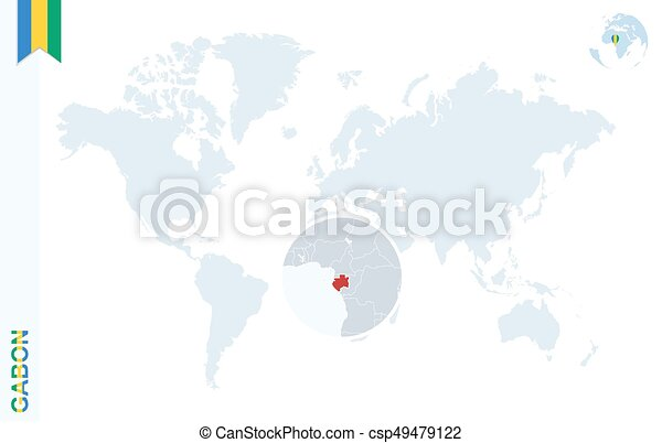 Gabon World Map.Blue World Map With Magnifying On Gabon World Map With Vector
