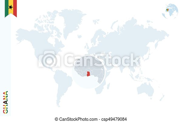 Ghana On A World Map.Blue World Map With Magnifying On Ghana World Map With Magnifying