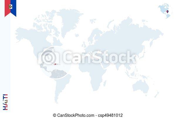Blue world map with magnifying on haiti. World map with magnifying ...