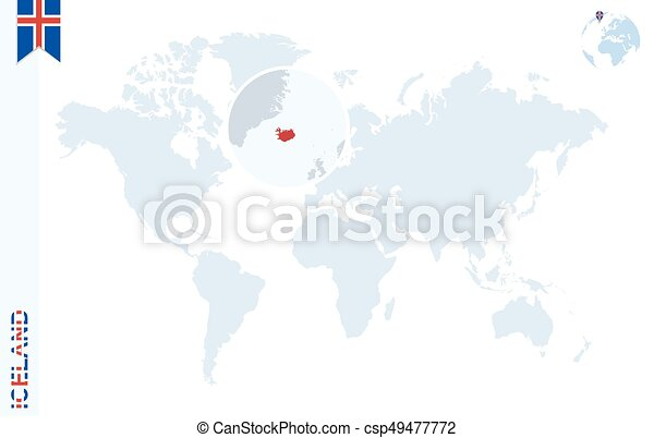 Blue world map with magnifying on iceland world map with vectors blue world map with magnifying on iceland csp49477772 gumiabroncs Images