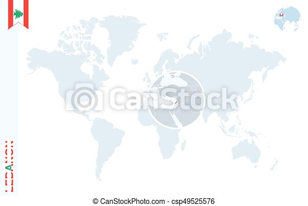 Blue World Map With Magnifying On Lebanon World Map With Magnifying