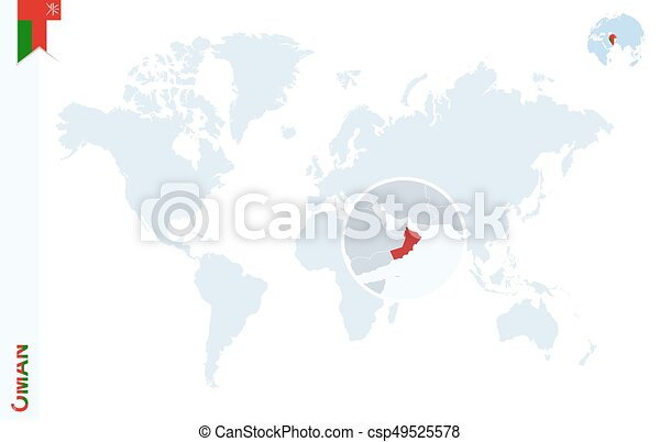 Blue World Map With Magnifying On Oman World Map With Vectors - Oman in world map