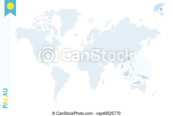 Blue World Map With Magnifying On Palau World Map With Magnifying