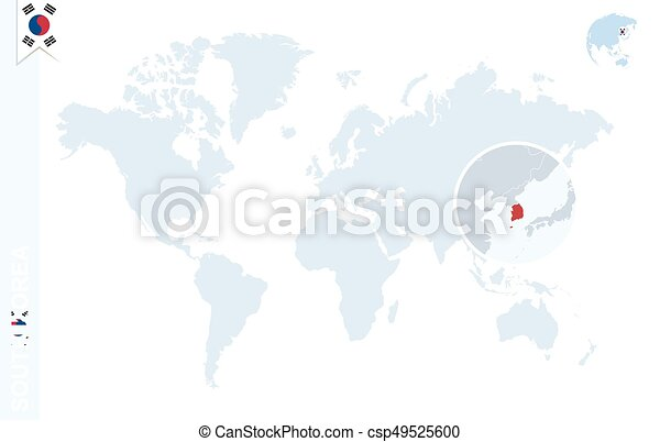 Blue world map with magnifying on South Korea.