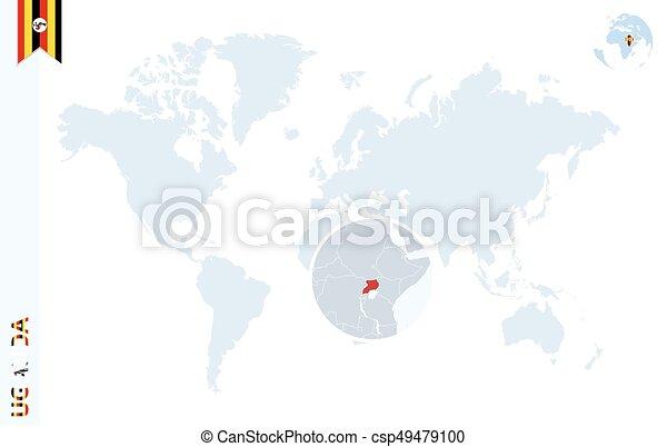 Blue World Map With Magnifying On Uganda World Map With Magnifying On Uganda Blue Earth Globe With Uganda Flag Pin Zoom On