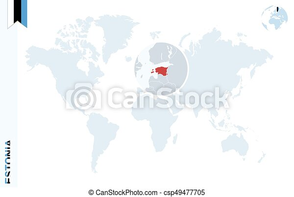 Estonia on world map blue world map with magnifying on estonia world map with vector gumiabroncs Images