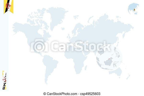 Blue World Map With Magnifying On Brunei World Map With Magnifying