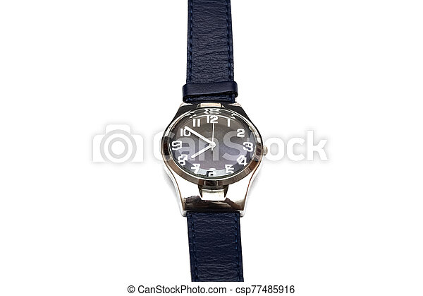 Blue wristwatch isolated on a white background - csp77485916