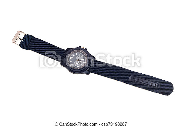 Blue wristwatch, isolated on a white background - csp73198287
