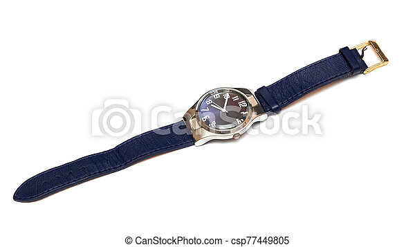 Blue wristwatch isolated on a white background - csp77449805