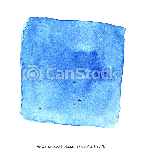 Blue wry watercolor square with stains - csp45767778