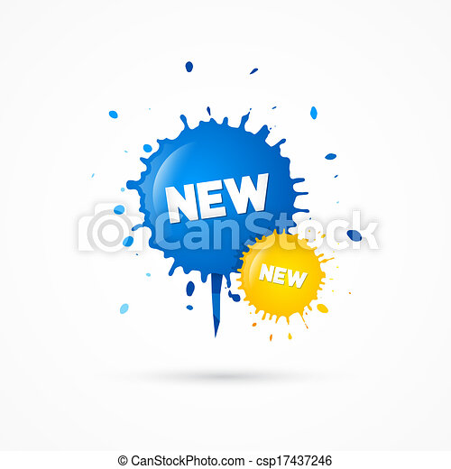 Blue, Yellow Vector Sale Blots Icons with New Title - csp17437246