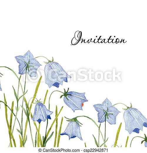 Bluebell flowers. Greeting or invitation vector card.  Hand drawn aquarel illustration. - csp22942871