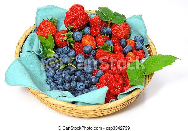 Blueberries, Strawberries and Raspberries - csp3342739