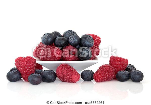 Blueberry and Raspberry Fruit - csp6582261