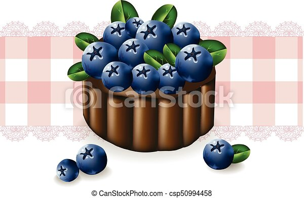 Blueberry cake on a vintage pattern. Vector delicious illustration - csp50994458