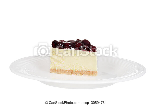 blueberry cheesecake on a plate - csp13059476