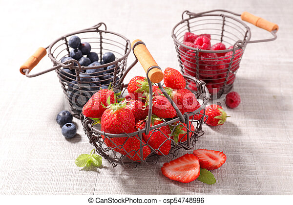 blueberry, strawberry and raspberry - csp54748996