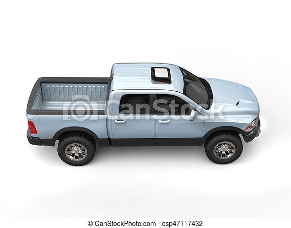 Blueish Silver Modern Pick Up Truck Top Down View