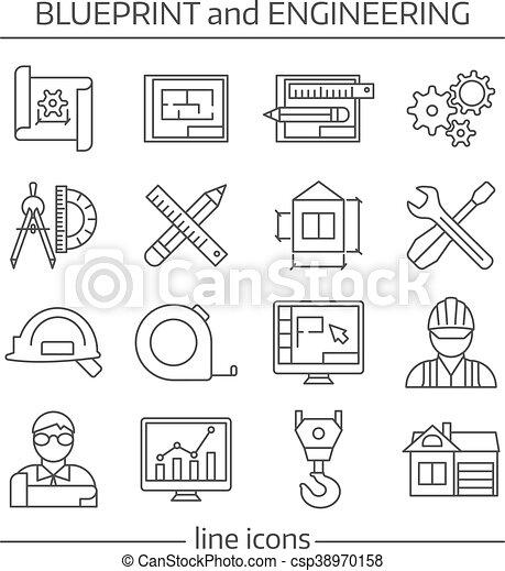 Blueprint and engineering linear icons set blueprint and blueprint and engineering linear icons set csp38970158 malvernweather Choice Image