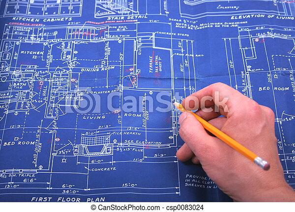 Blueprint and pencil - csp0083024