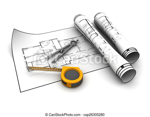 Blueprint and tools 3d illustration of blueprints with tools over blueprint and tools csp26305280 malvernweather Choice Image