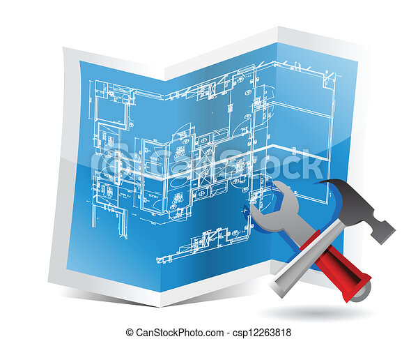 Blueprint and tools illustration trifold design over white vector blueprint and tools csp12263818 malvernweather Gallery