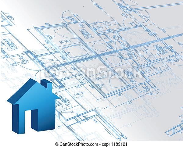 Blueprint architectural map and 3d house model illustration blueprint architectural map and 3d house model csp11183121 malvernweather Images