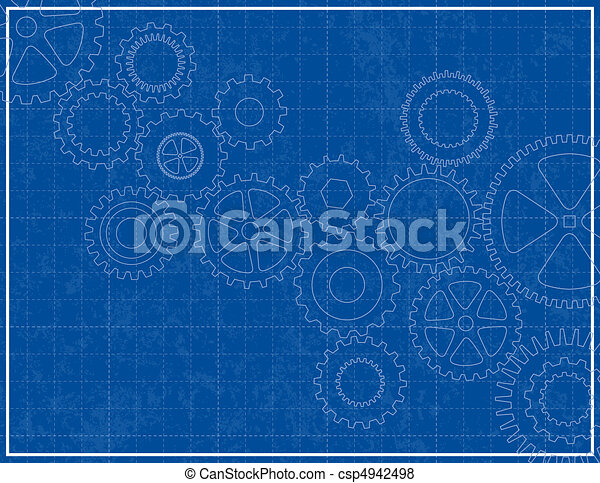 Blueprint Background with cogs - csp4942498