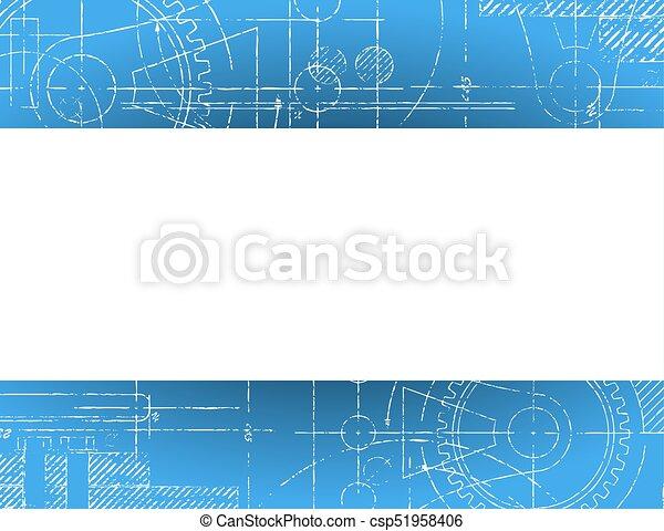 Blueprint banner grungy technical blueprint illustration with white blueprint banner csp51958406 malvernweather Choice Image