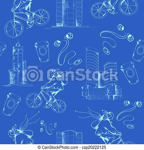 Blueprint city seamless pattern modern urban city blueprint blueprint city seamless pattern vector malvernweather Image collections