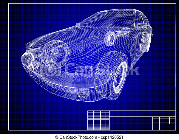 Blueprint. Close-up of auto blueprint.
