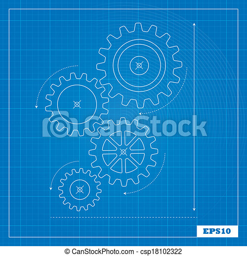 Blueprint cogs and gears cogs and a blueprint background vector blueprint cogs and gears csp18102322 malvernweather Gallery