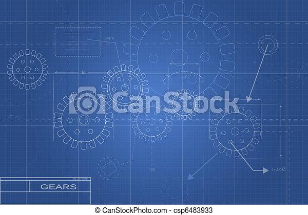 blueprint, engrenagem, ilustração - csp6483933