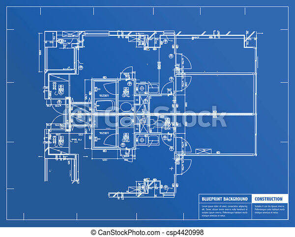 Sample of architectural blueprints over a blue background vector blueprint csp4420998 malvernweather Choice Image