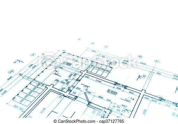 Blueprint Floor Plan, Architectural Drawing, Construction Background    Csp37127765