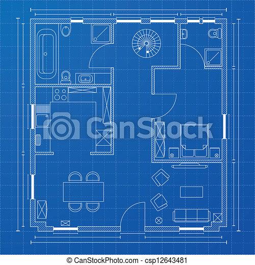 Detailed illustration of a blueprint floorplan vector search clip blueprint floorplan csp12643481 malvernweather Image collections