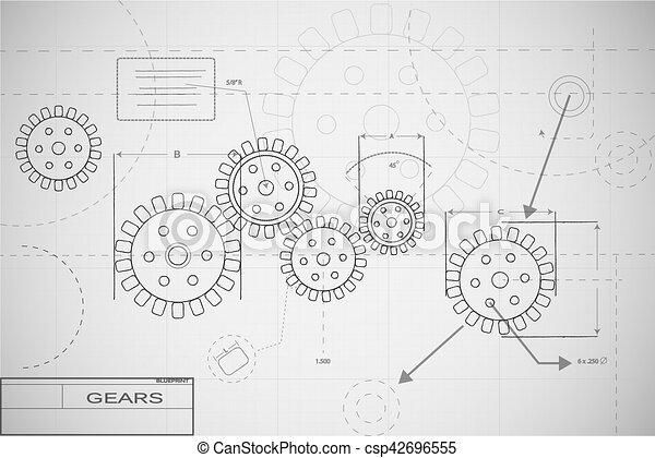 Blueprint gears illustration blueprint gears illustration on white blueprint gears illustration malvernweather Choice Image